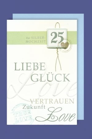 Grußkarte: Zur Silberhochzeit 25, Liebe Glück Vertrauen - mit Applikationen