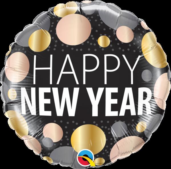 Folienballon HAPPY NEW YEAR, polka dots, ca. 45 cm