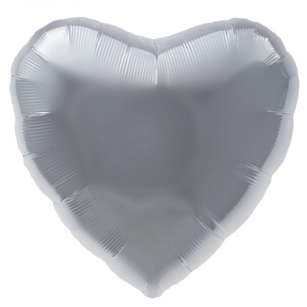 Folienherz silber, Riesenballon, ca. 90 cm
