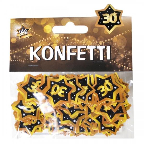 Streudeko 30 Sterne schwarz/gold, ca. 14 gr