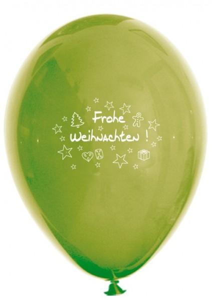 10 Ballons Frohe Weihnachten, rot und grün, ca. 30 cm Durchmesser