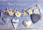 Grußkarte: Viel Glück! Kette mit Seesternen, Blüten, Herzen
