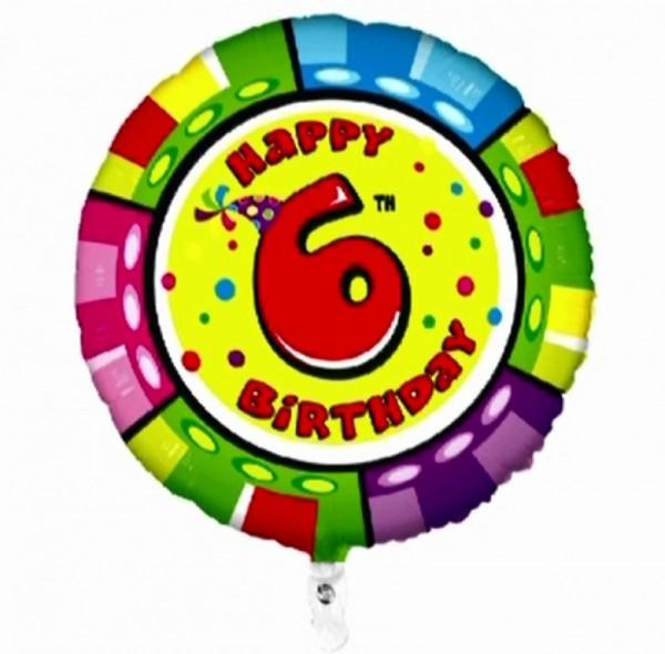 Folienballon Happy 6th Birthday, Animaloons, ca. 53 cm