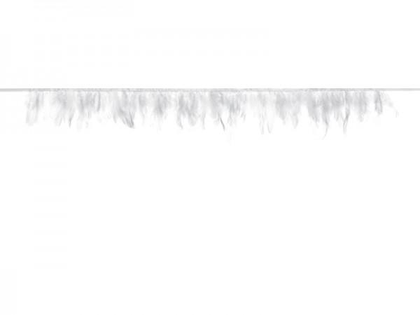 Federn - Girlande mit Satinband, weiß, 1 M.