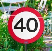 Schild mit Stecker 40 Verkehrsschild, ca. 53 cm