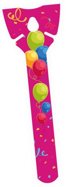 Ballonhalter Ballonstab Pappe pink bunt, einteilig, ca. 18 cm