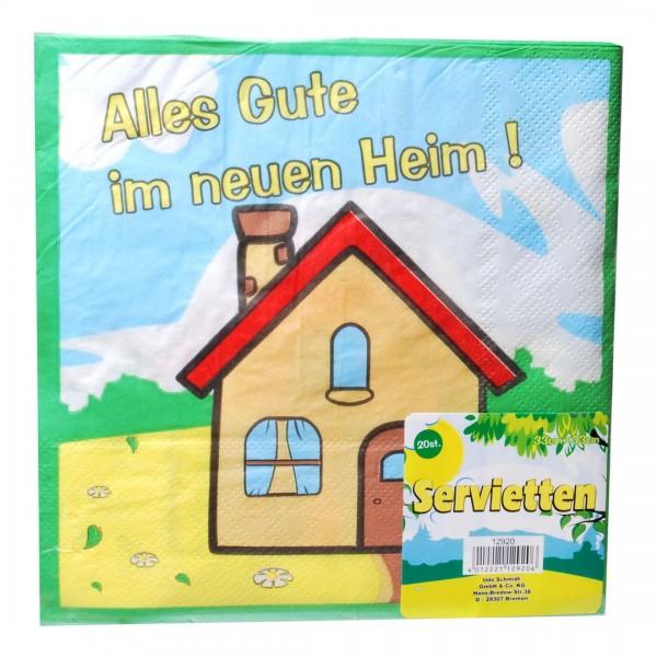 Servietten Alles Gute im neuen Heim, ca. 33x33 cm, 20 St.