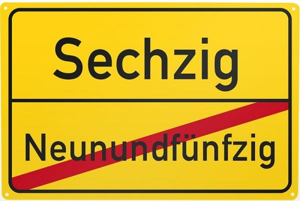 Blechschild Neunundfünfzig / Sechzig, ca. 30 x 20 cm