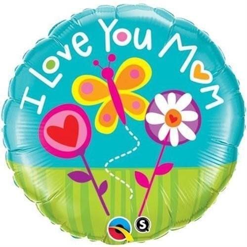 Ballongruß: I love you Mom, Blumen & Schmetterling, ca. 45 cm