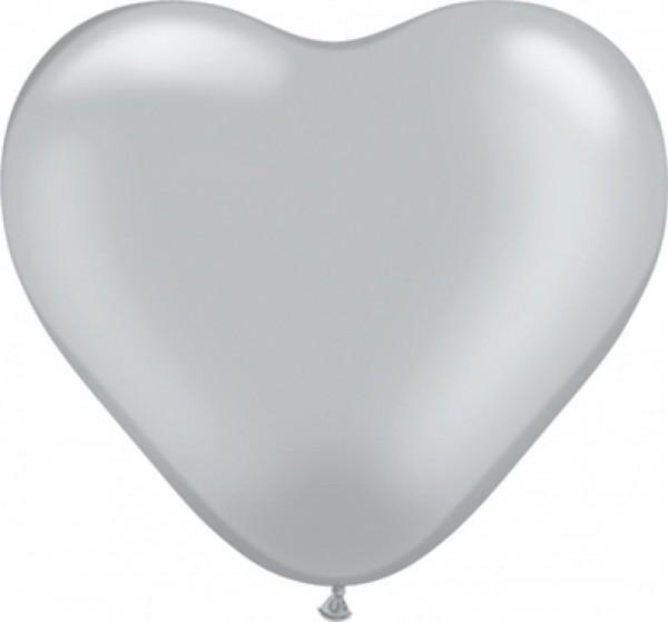 50 Herzballons silber, ca. 40 cm