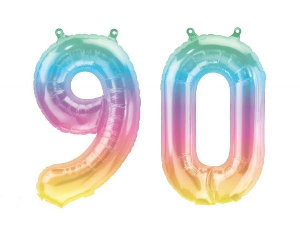 Folienballon Set Zahl 90, ca. 41 cm, Jelli Ombre, für Luftbefüllung