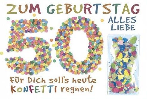 Grußkarte: Zum Geburtstag alles Liebe 50 - Konfetti
