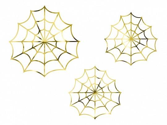 Deko Spinnennetz gold, ca. 23x23 cm & 18x18 cm, 3 St.