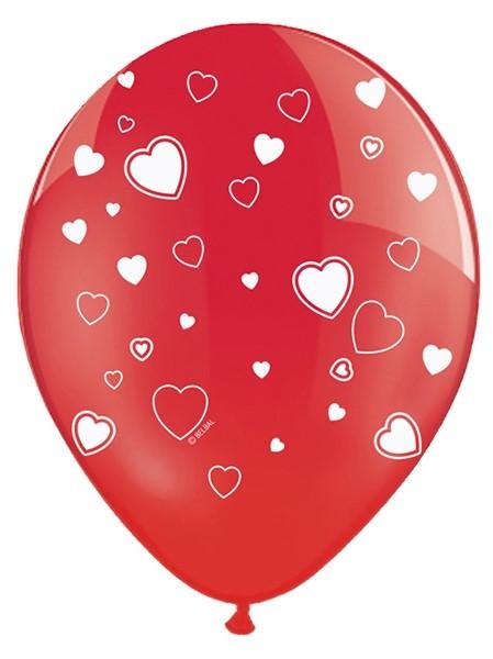 6 Ballons Herzen rot weiß, ca. 30 cm