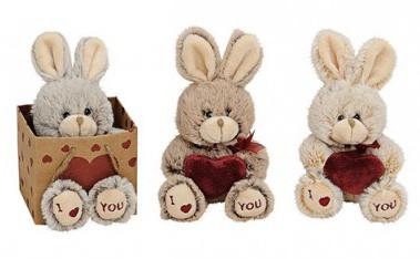 Plüsch Hase mit Herz I love you in Geschenktüte, sortiert, ca. 11 cm