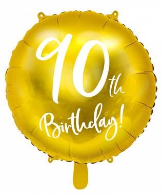 Folienballon 90th Birthday gold/weiß ca. 45 cm