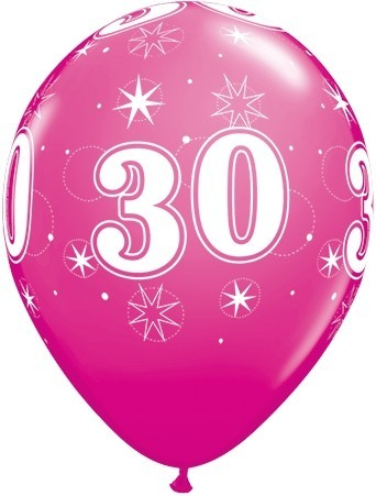 5 Zahlenballons 30 Qualatex, pink, ca. 30 cm