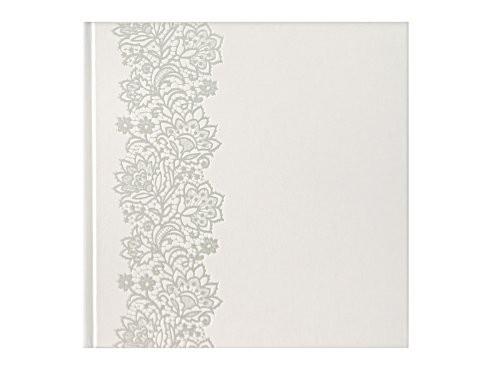 Gästebuch weiß, silberne Blumenranke, ca. 20,5 x 20,5 cm