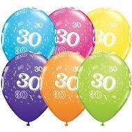 5 Zahlenballons 30 Qualatex, Tropical-Mix, ca. 30 cm