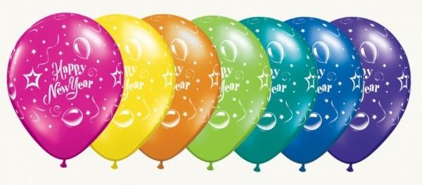 5 Ballons Happy new year, bunt, Qualatex, ca. 30 cm