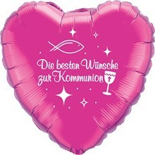Ballongruß: Herz Zur Kommunion, pink, ca. 45 cm