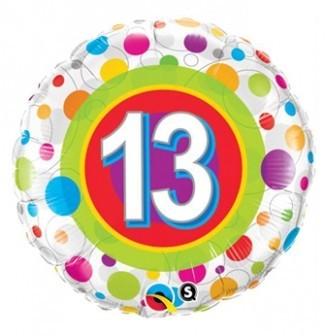 Ballongruß: 13 Geburtstag, ca. 45 cm