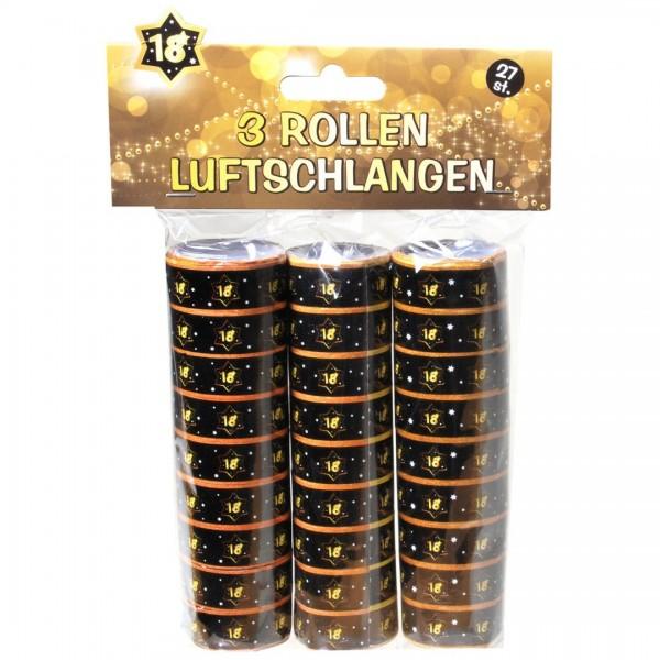 Luftschlangen 18 schwarz/gold, 3 Rollen