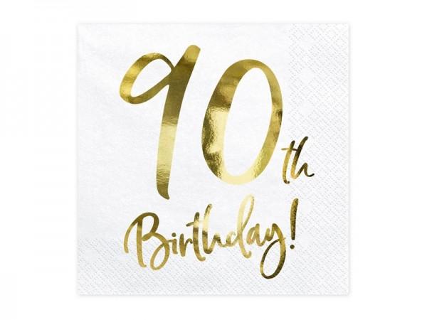 Servietten 90th Birthday gold/weiß, 20 St.