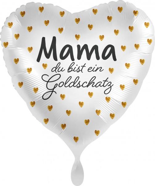 Ballongruß XL: Herz Mama du bist ein Goldschatz, ca. 70 cm