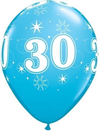 5 Zahlenballons 30 Qualatex, blau, ca. 30 cm