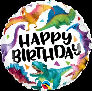 Ballongruß: Happy Birthday Dinosaurier, ca. 45 cm