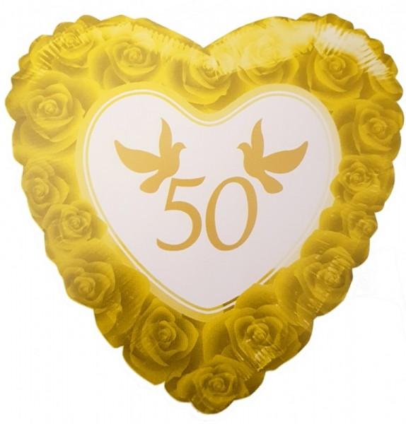 Folien-Herz 50 Tauben, Goldhochzeit, ca. 45 cm
