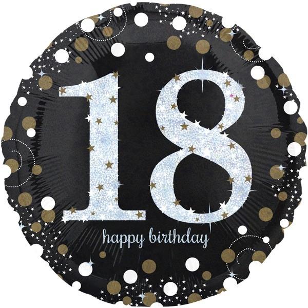 Folienballon Happy Birthday 18, schwarz/weiß/silber/gold, ca. 45 cm