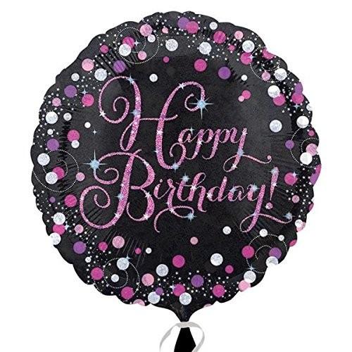 Folienballon Happy Birthday schwarz/weiß/pink, ca. 45 cm