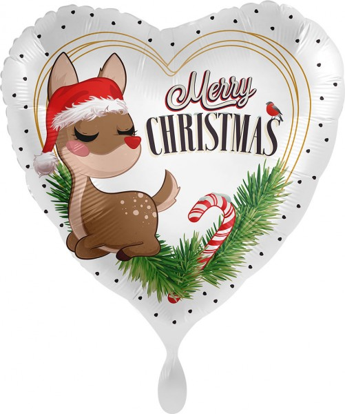 Folienherz Merry Christmas Rentier, ca. 45 cm