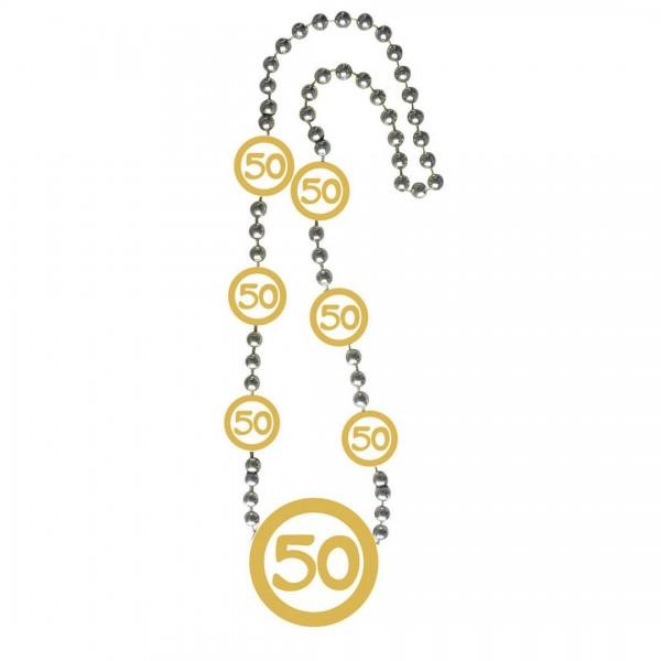 Kette 50 gold/weiß, ca. 77,4 cm