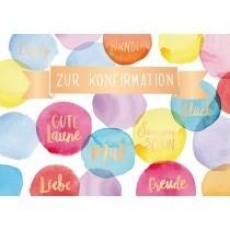 Grußkarte: Zur Konfirmation ....bunte Farbkleckse
