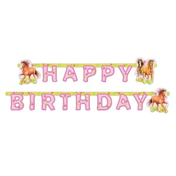 Buchstabengirlande Happy Birthday Pferde, ca. 1,9 M.