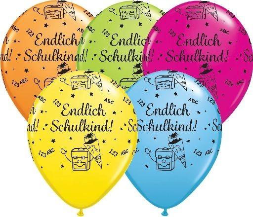 5 MINI Luftballons Endlich Schulkind Qualatex, sortiert, ca. 13 cm