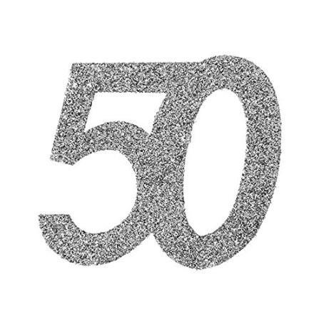 Streudeko 50 Glitter silber, ca. 6x5 cm, 6 St.