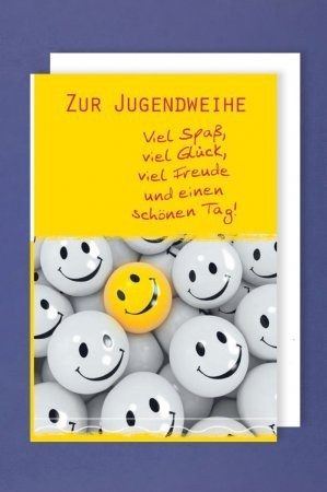 Grußkarte: Zur Jugendweihe - viel Spaß, viel Glück, viel Freude und einen schönen Tag