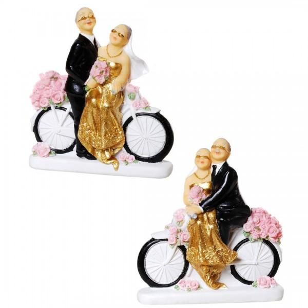 Goldhochzeitspaar auf Fahrrad, sortiert, Polystone, ca. 11x10 cm