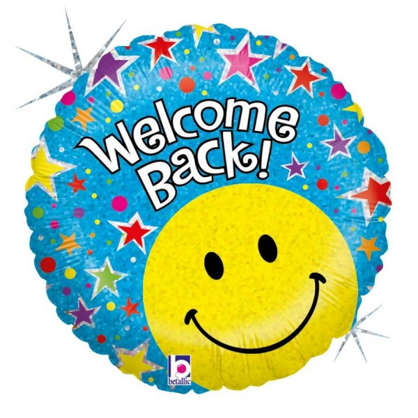 Folienballon Welcome back, Happy Face, ca. 45 cm