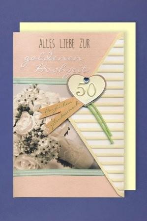 Grußkarte: Alles Liebe zur goldenen Hochzeit - Herz 50, mit Applikationen