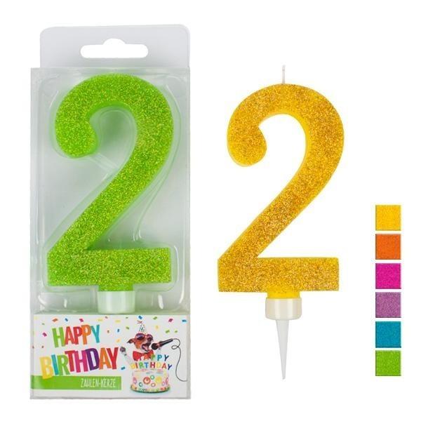 Zahlenkerze 2 Glitter, sortiert, ca. 9 cm