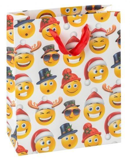 Geschenktasche Weihnachten Emoji, ca. 23x18x8 cm
