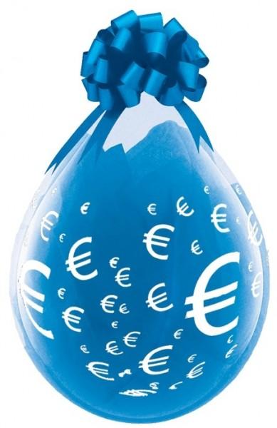 Euro-Zeichen Verpackungsballon, transparent, Qualatex, ca. 45 cm