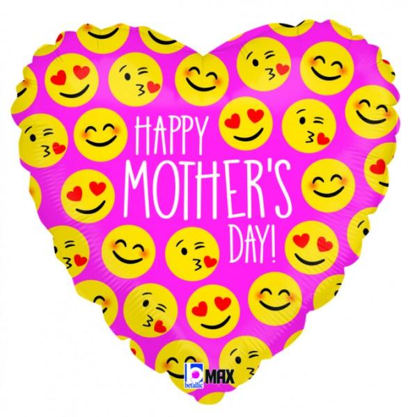 Folienherz Happy Mother`s Day! Emojis, ca. 45 cm