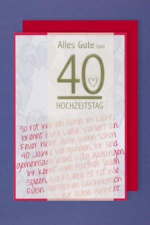 Grußkarte: Alles Gute zum 40 Hochzeitstag - So rot wie ein Rubin ...