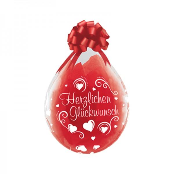 Herzlichen Glückwunsch Herzen Verpackungsballon, transparent, Qualatex, ca. 45 cm
